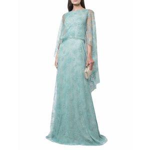New TADASHI Shoji Sheer Cape Evening Dress
